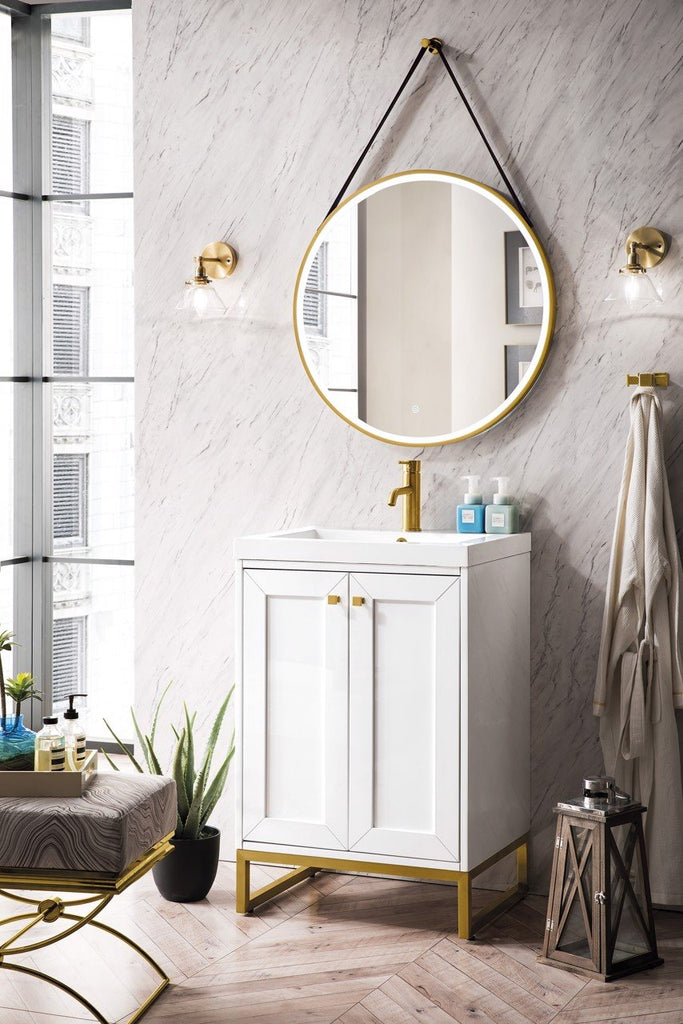 "Chianti 24"" Single Vanity Cabinet, Glossy White, Radiant Gold"