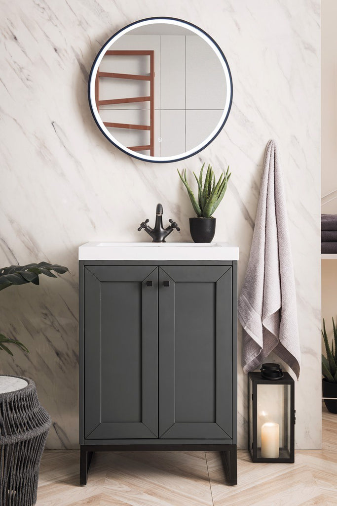 "Chianti 24"" Single Vanity Cabinet, Mineral Grey, Matte Black"