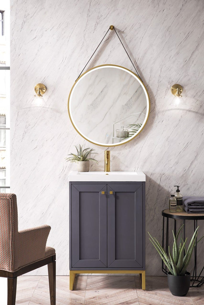 "Chianti 24"" Single Vanity Cabinet, Mineral Grey, Radiant Gold"