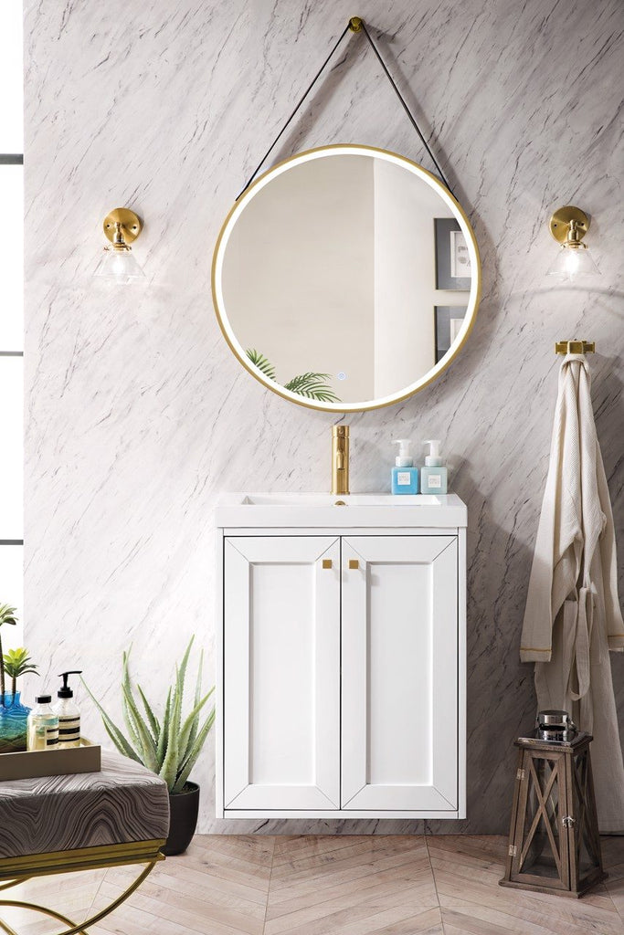 "Chianti 24"" Single Wall Mounted Vanity Cabinet, Glossy White w/ White Glossy Resin Countertop"