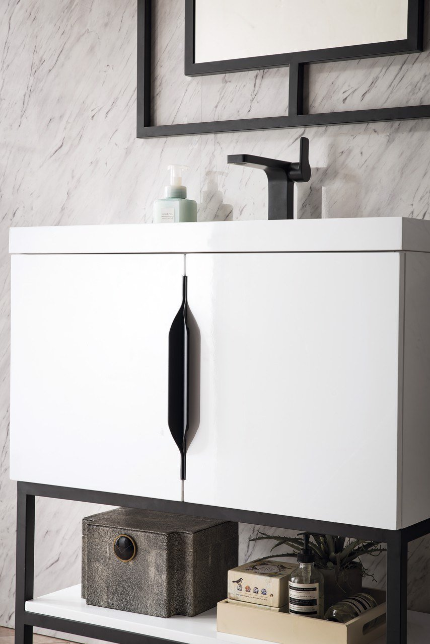 "Columbia 31.5"" Single Bathroom Vanity, Glossy White, Matte Black Single Bathroom Vanity James Martin Vanities"