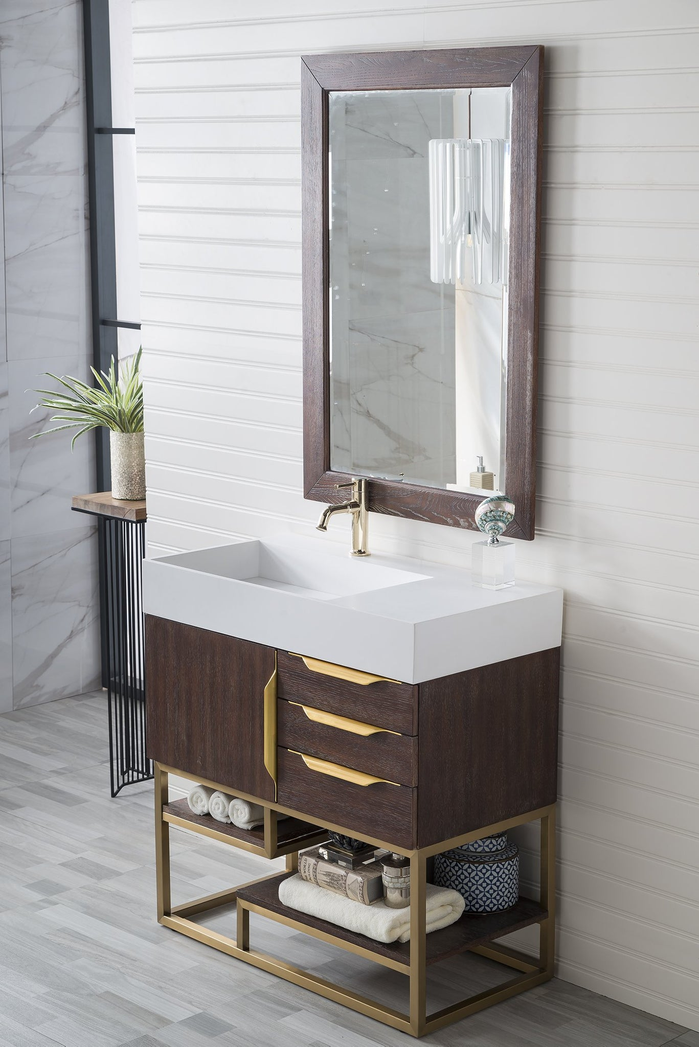 "Columbia 36"" Single Vanity, Coffee Oak Single Bathroom Vanity James Martin Vanities"