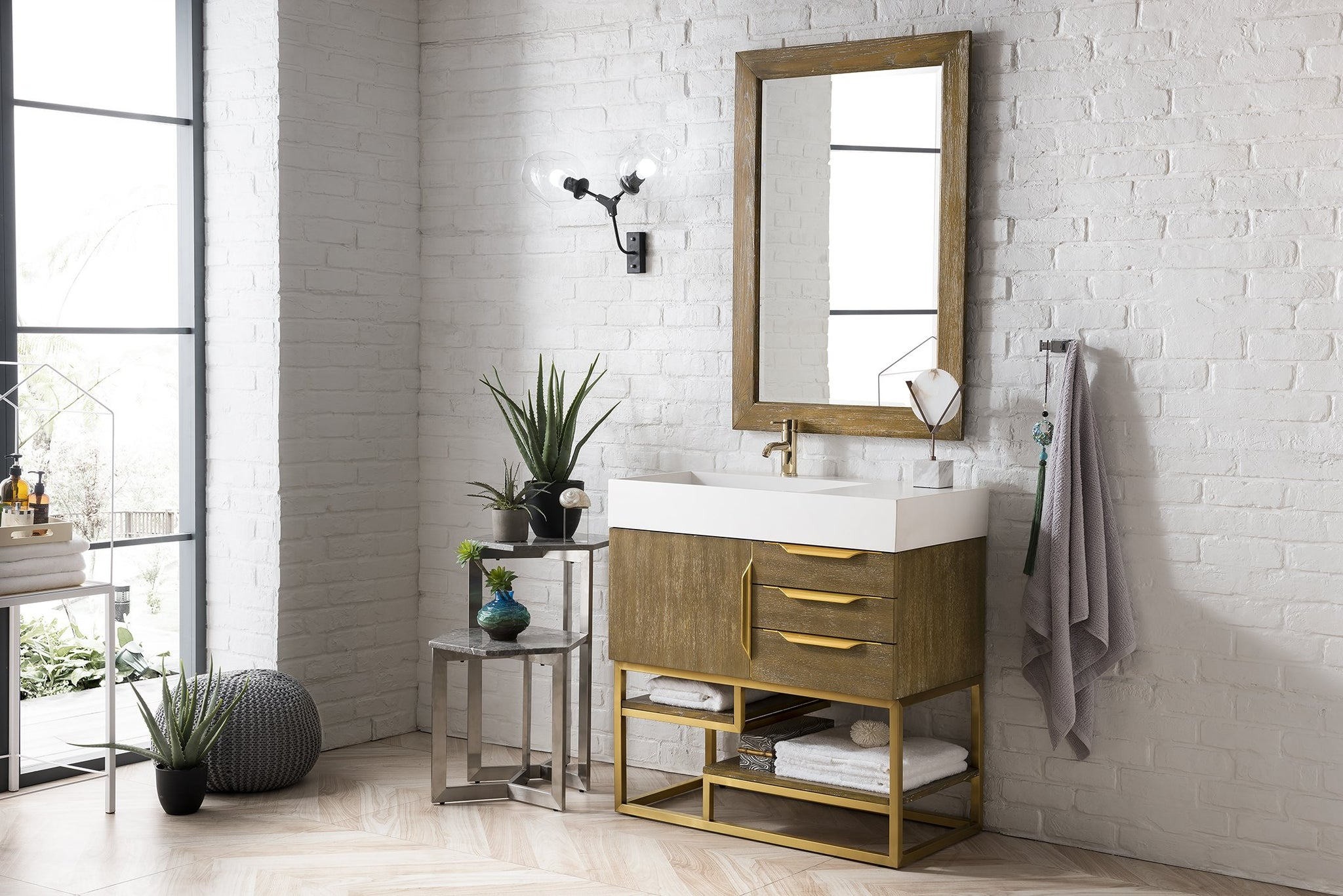 "Columbia 36"" Single Vanity, Latte Oak Single Bathroom Vanity James Martin Vanities"