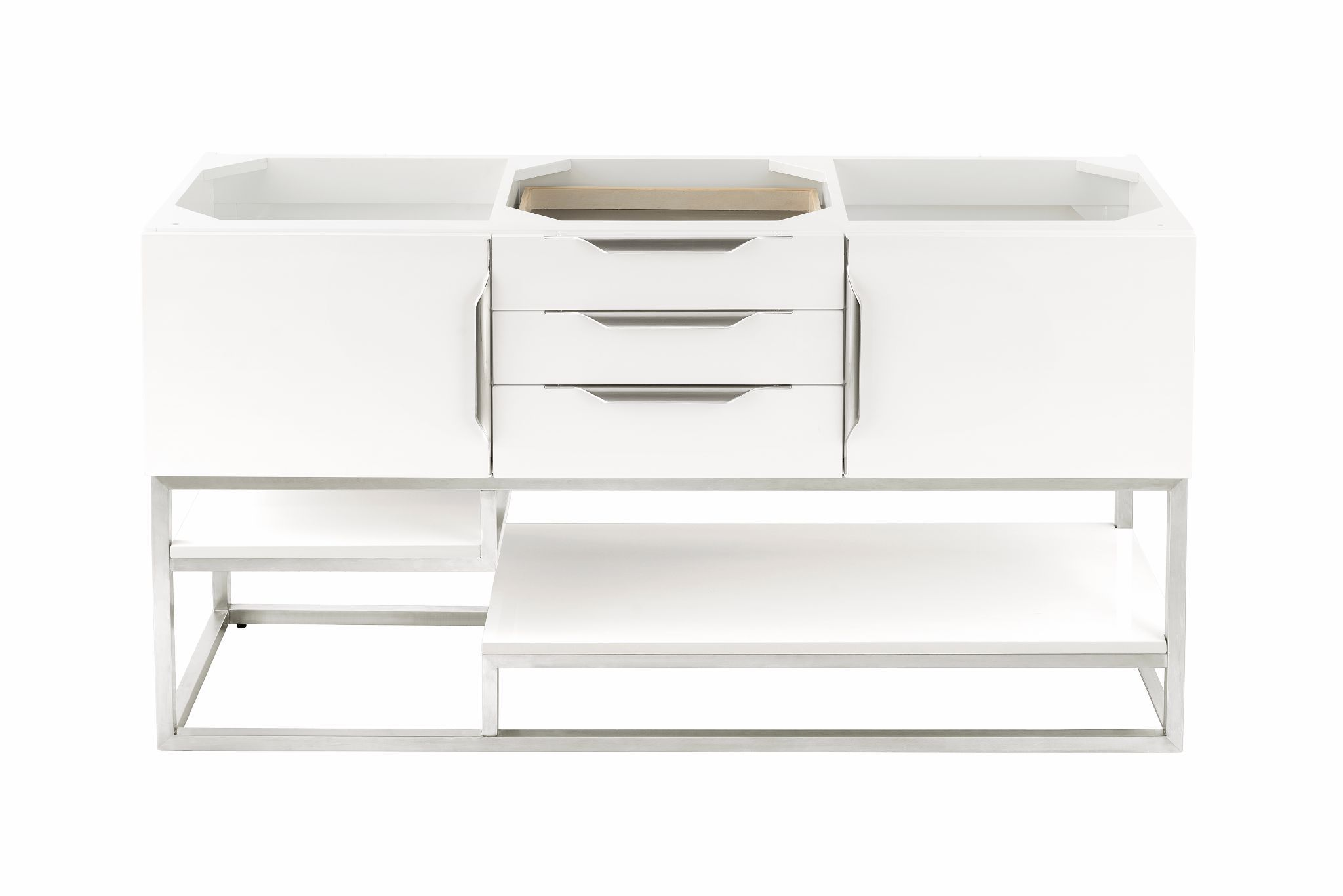 "Columbia 59"" Double Bathroom Vanity, Glossy White Double bathroom Vanity James Martin Vanities"