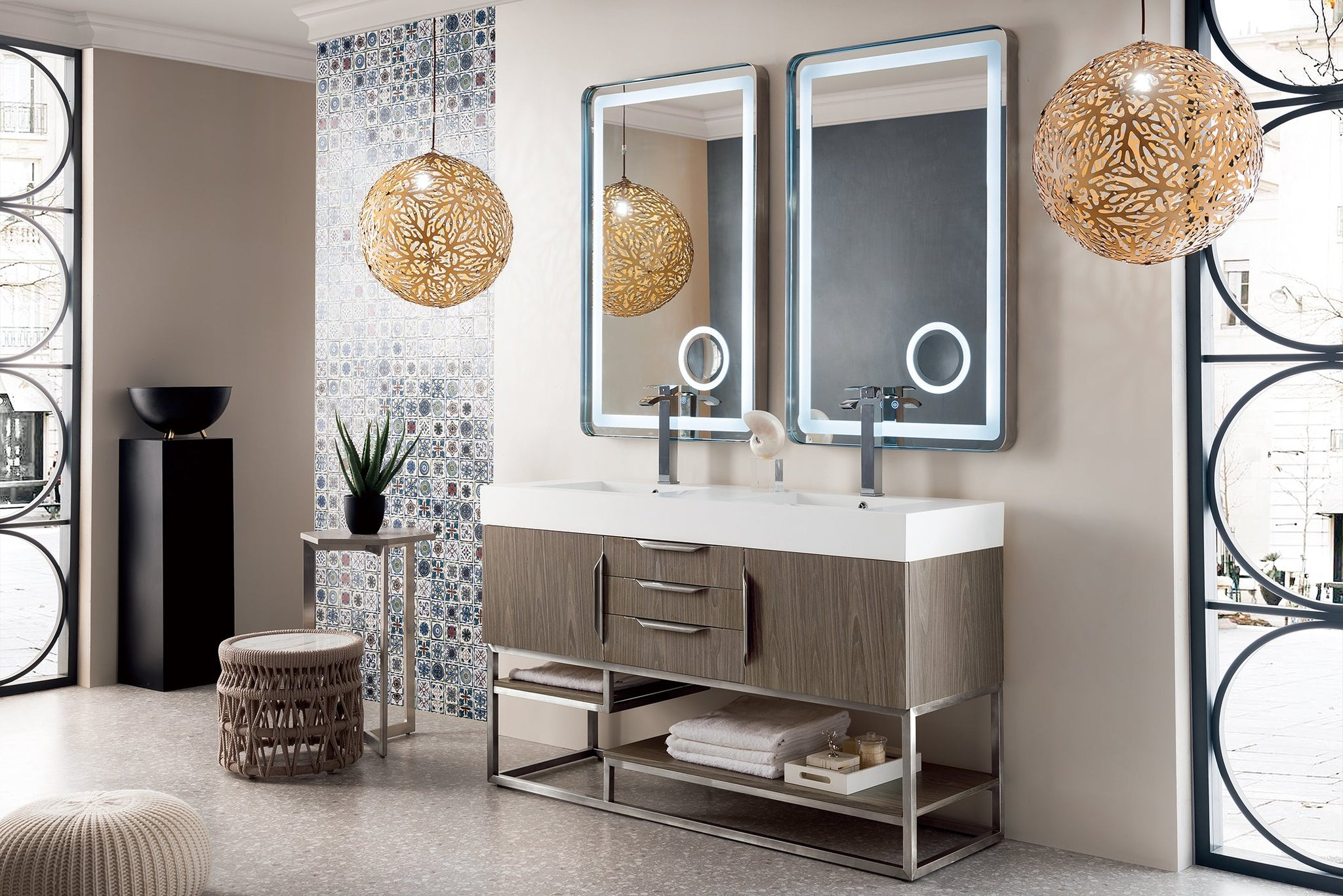 "Columbia 59"" Double Vanity, Ash Gray Double bathroom Vanity James Martin Vanities"