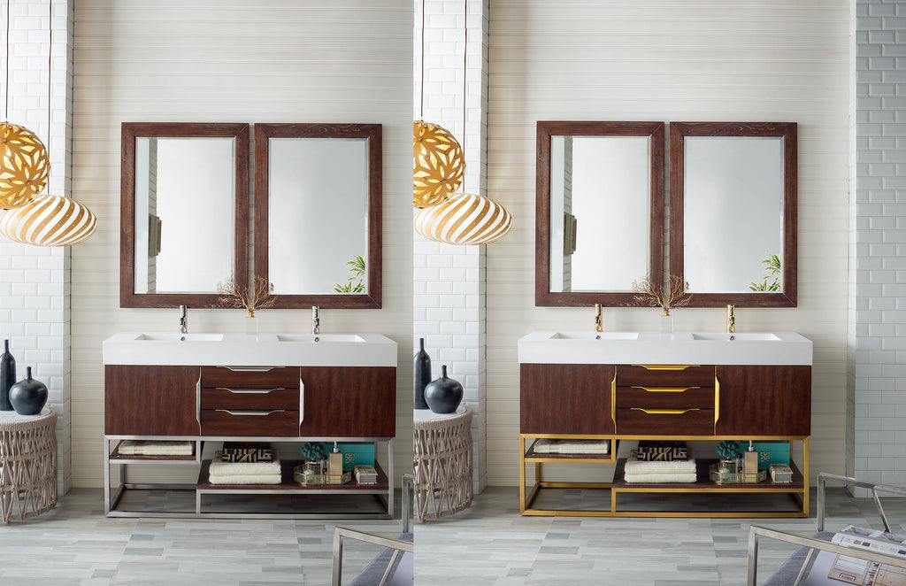 "Columbia 59"" Double Bathroom Vanity, Coffee Oak"