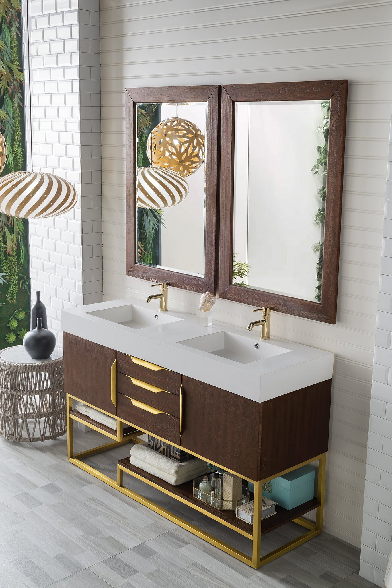 "Columbia 59"" Double Vanity, Coffee Oak Double bathroom Vanity James Martin Vanities"