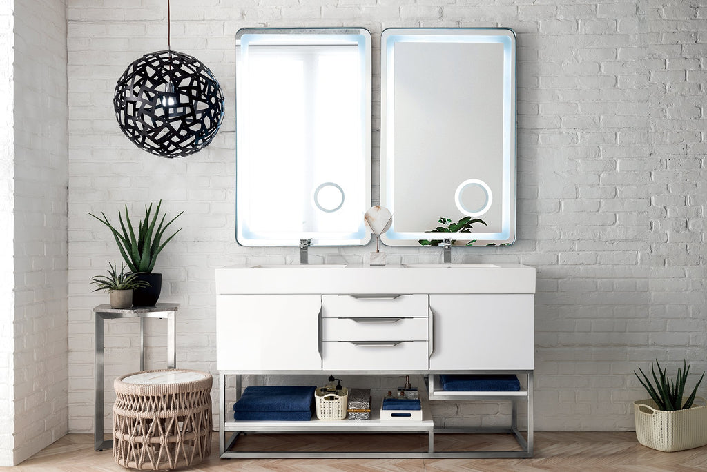 "Columbia 59"" Double Bathroom Vanity, Glossy White"