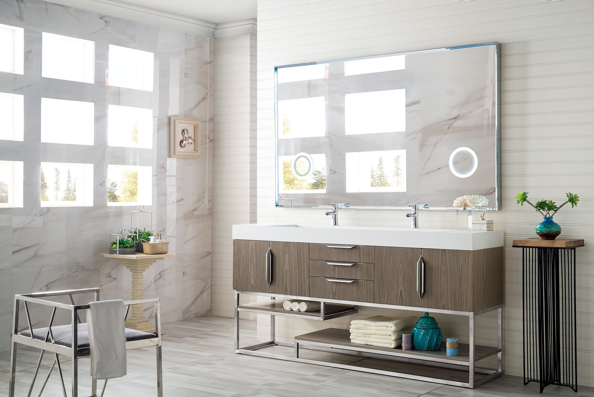 "Columbia 72"" Double Bathroom Vanity, Ash Gray Double bathroom Vanity James Martin Vanities"