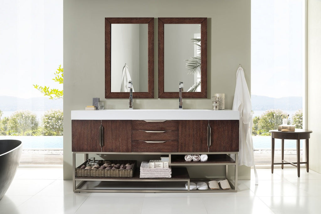 "Columbia 72"" Double Bathroom Vanity, Coffee Oak"