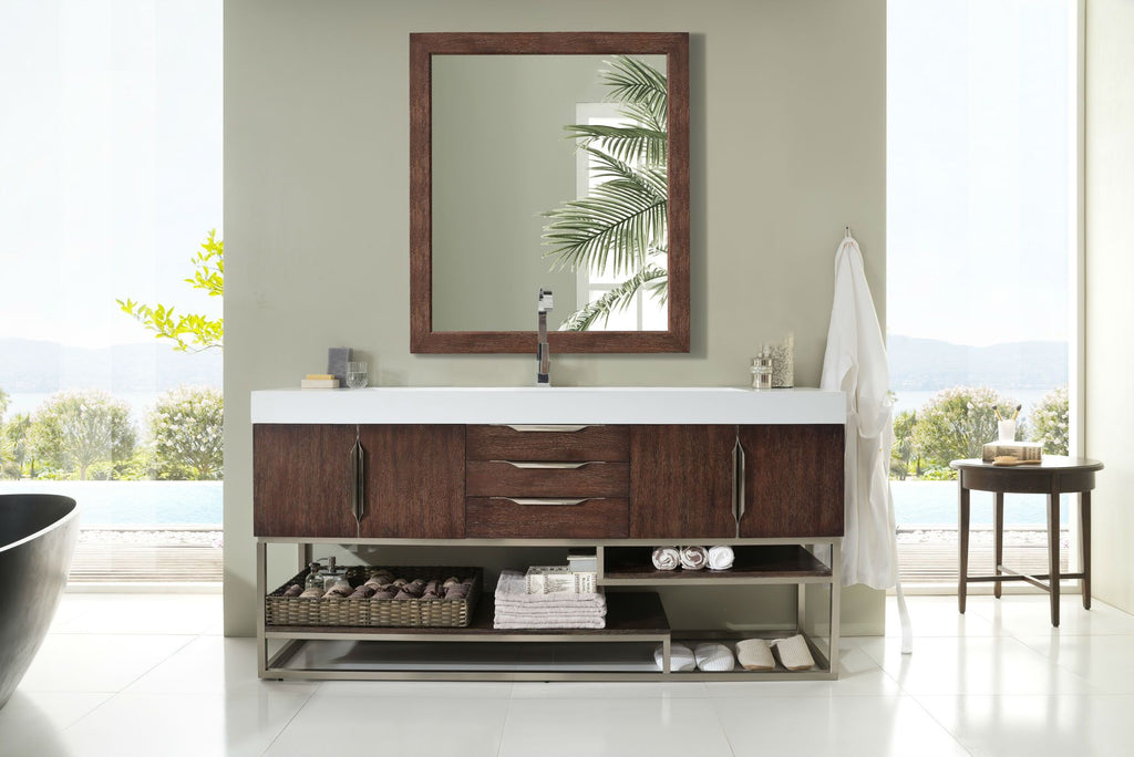 "Columbia 72"" Single Bathroom Vanity, Coffee Oak"
