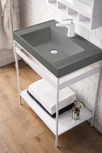 Como 27 Stainless Steel Sink Console Single Bathroom Vanity Glossy W