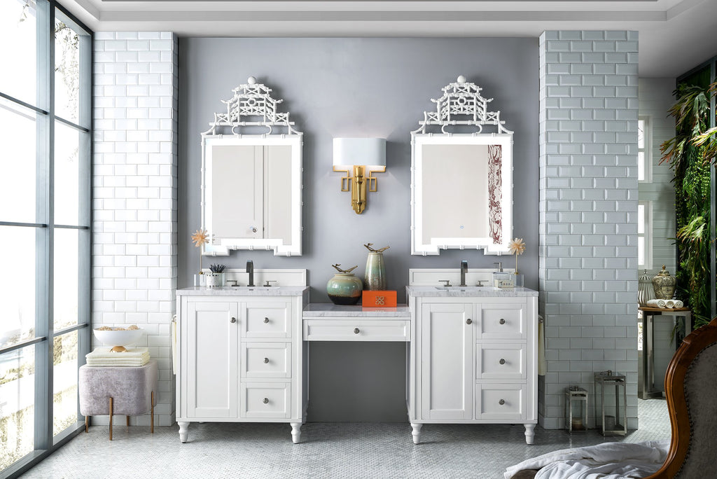 "Copper Cove Encore 86"" Double Bathroom Vanity, Bright White"
