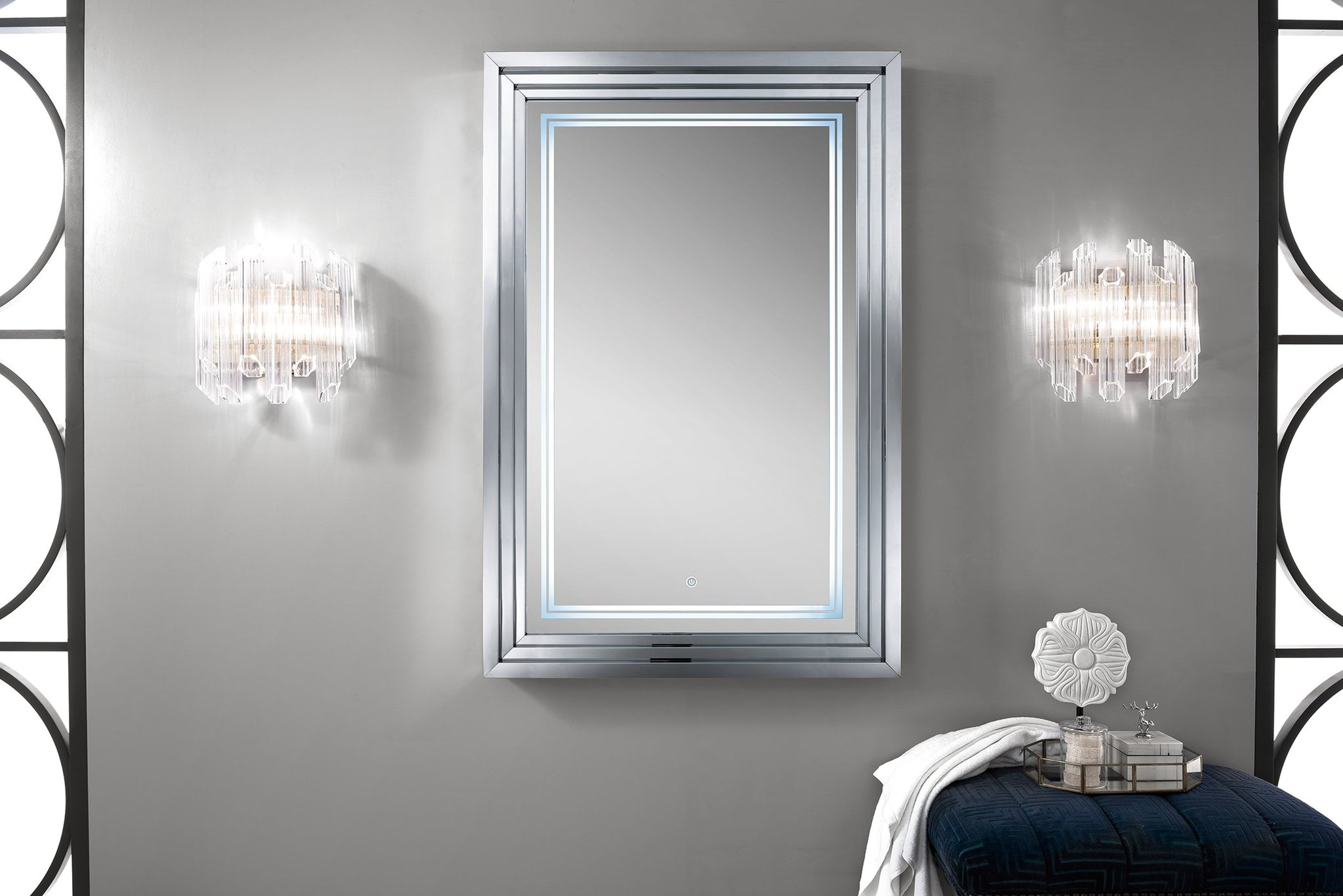 "Escalante 32"" Mirror, Plated Nickel Mirror James Martin Vanities"