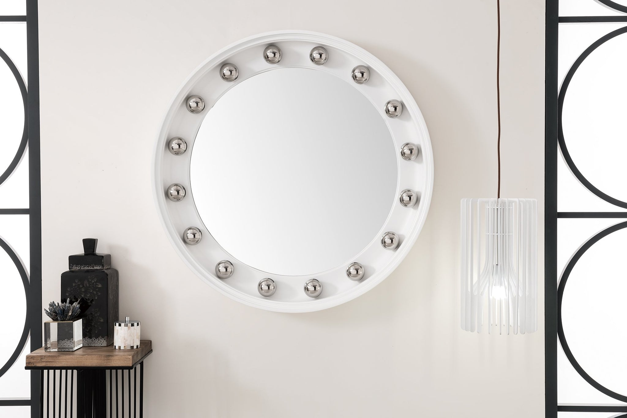 "Halo 36"" Mirror, Bright White with Chrome Mirror James Martin Vanities"