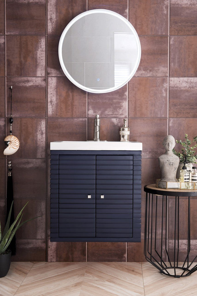 "Linden 24"" Single Wall Mounted Vanity Cabinet, Navy Blue w/ White Glossy Resin Countertop"