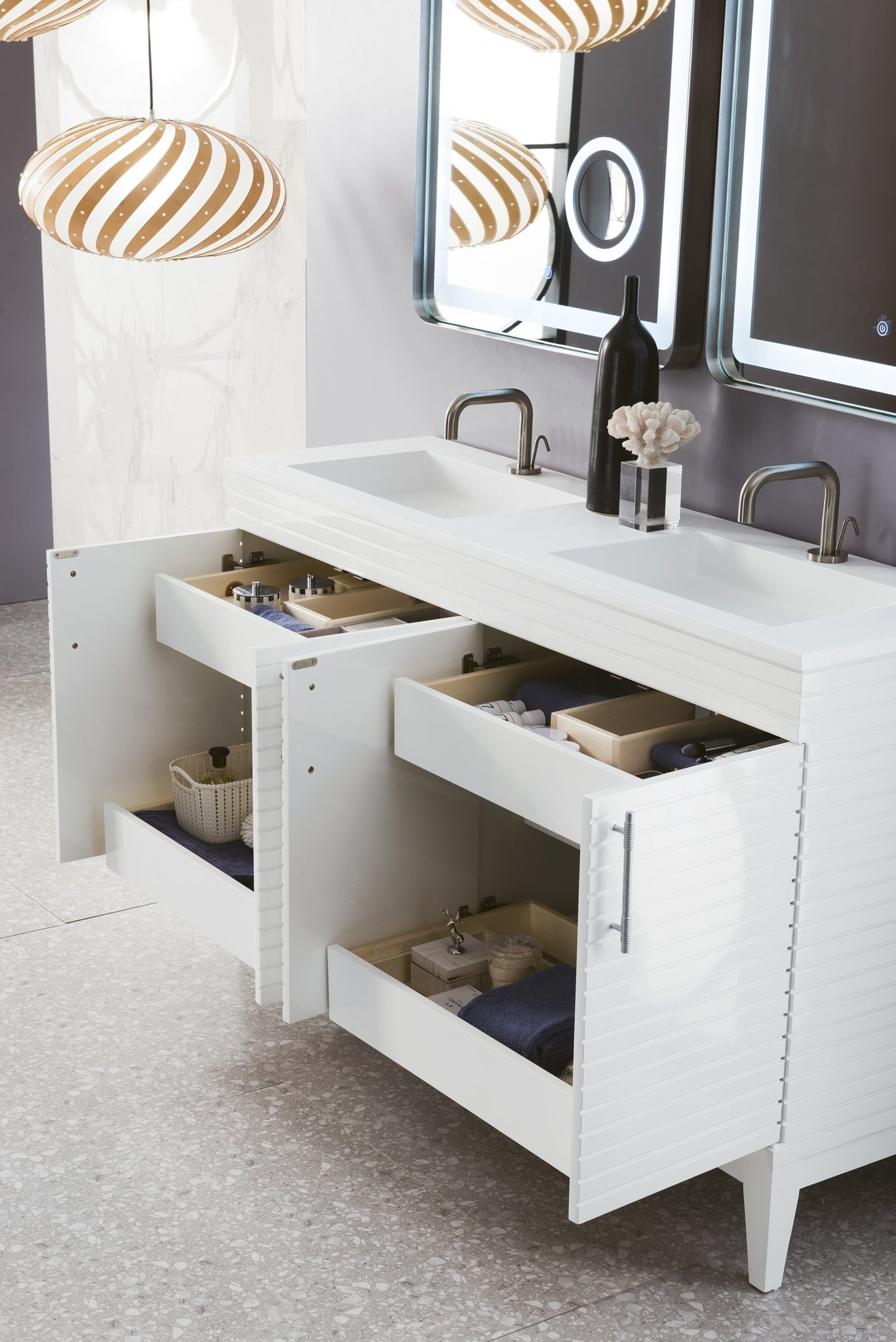 "Lineage 59"" Double Vanity, Glossy White Double bathroom Vanity James Martin Vanities"
