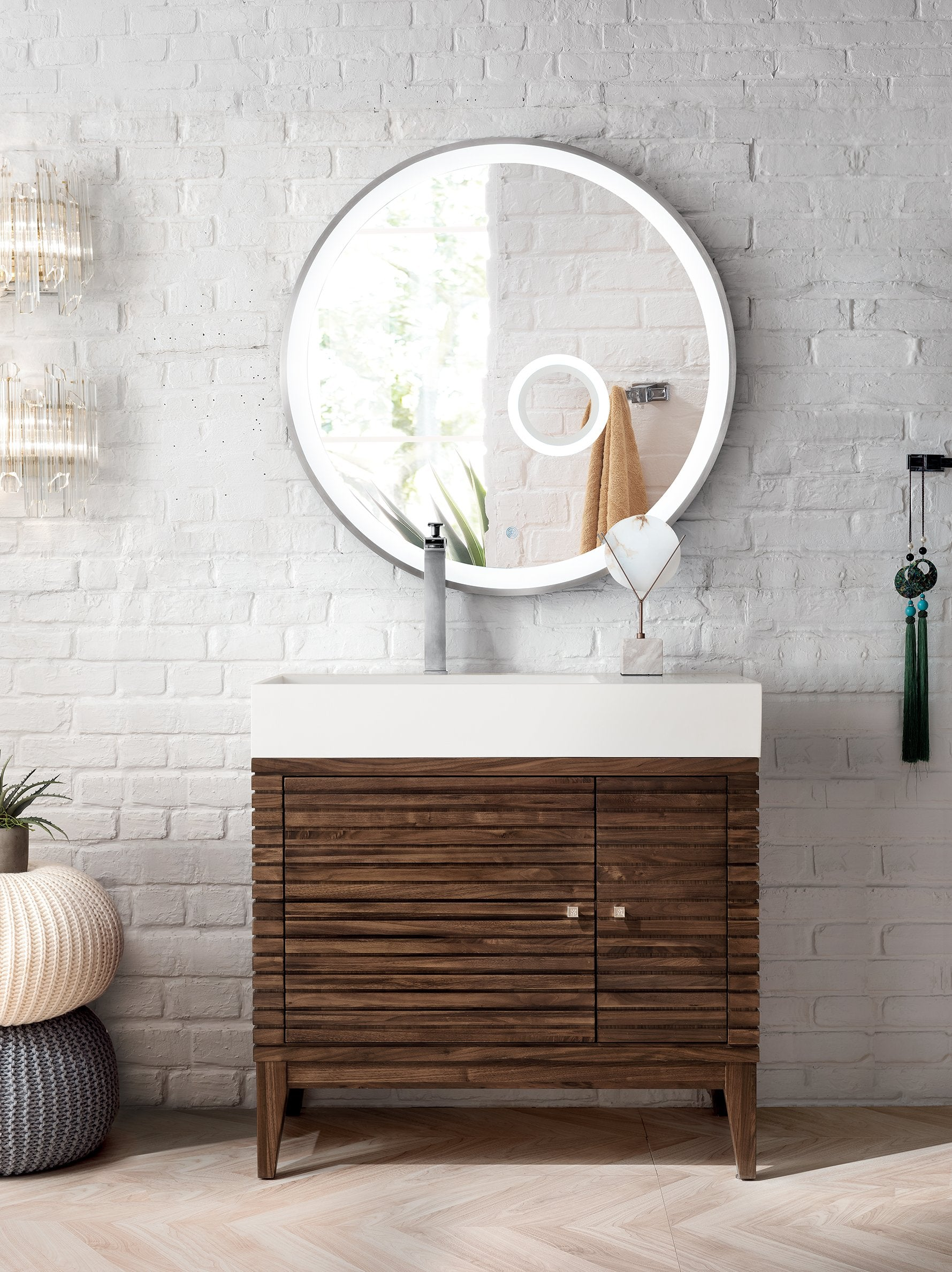 Linear 36 Single Bathroom Vanity Mid Century Walnut