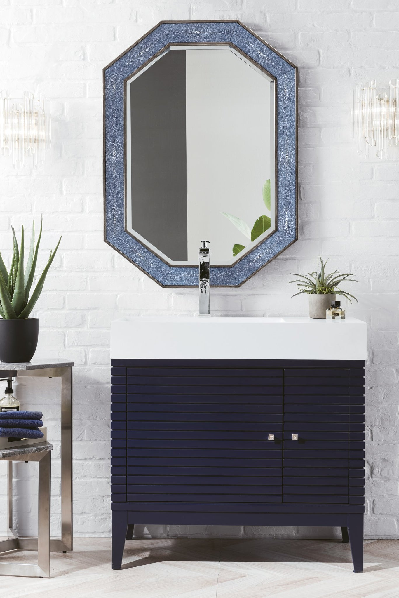 "Linear 36"" Single Vanity, Victory Blue Single Bathroom Vanity James Martin Vanities"
