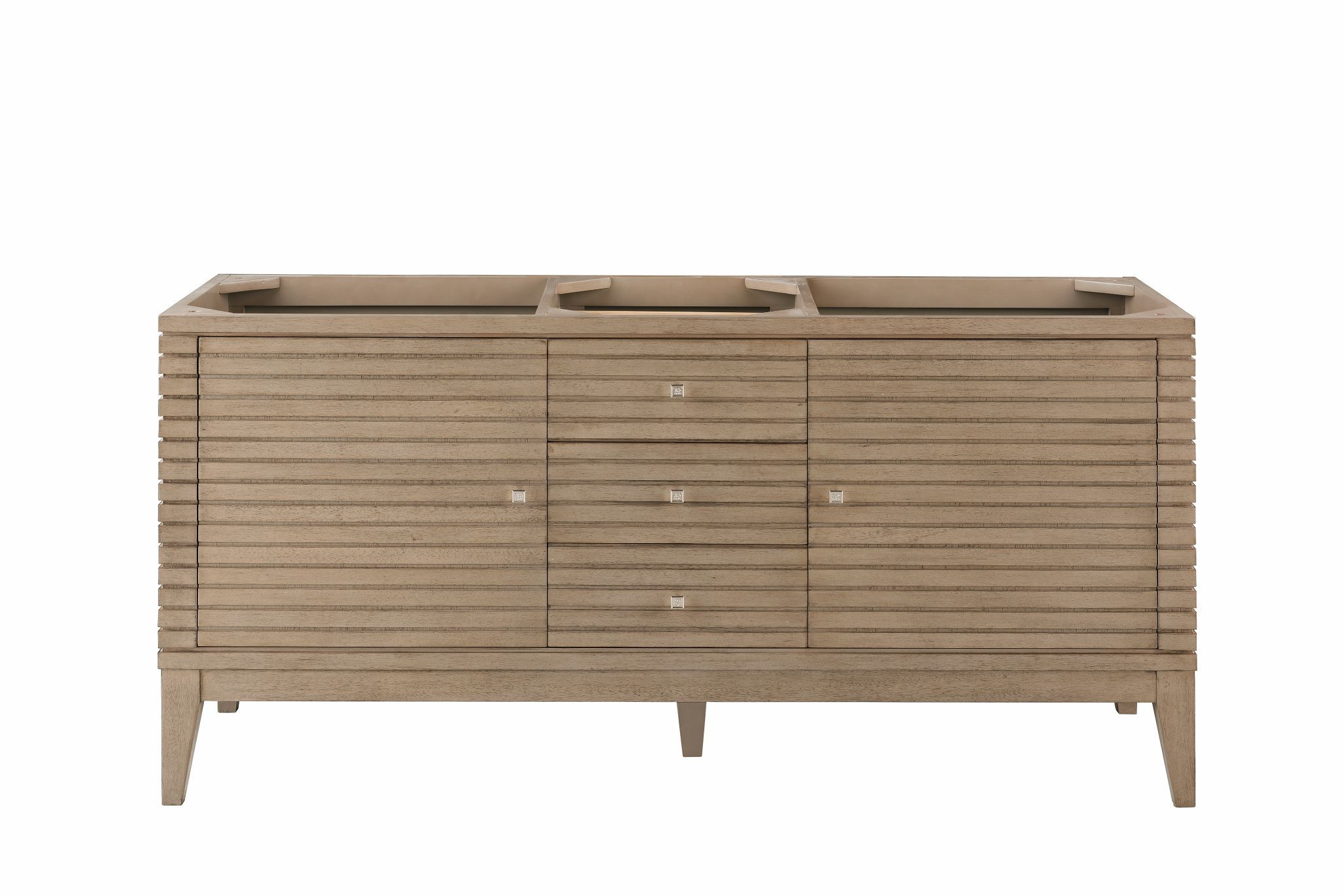 "Linear 59"" Double Bathroom Vanity, White Washed Walnut Double bathroom Vanity James Martin Vanities"