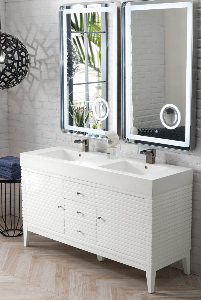 "Linear 59"" Double Bathroom Vanity, Glossy White"