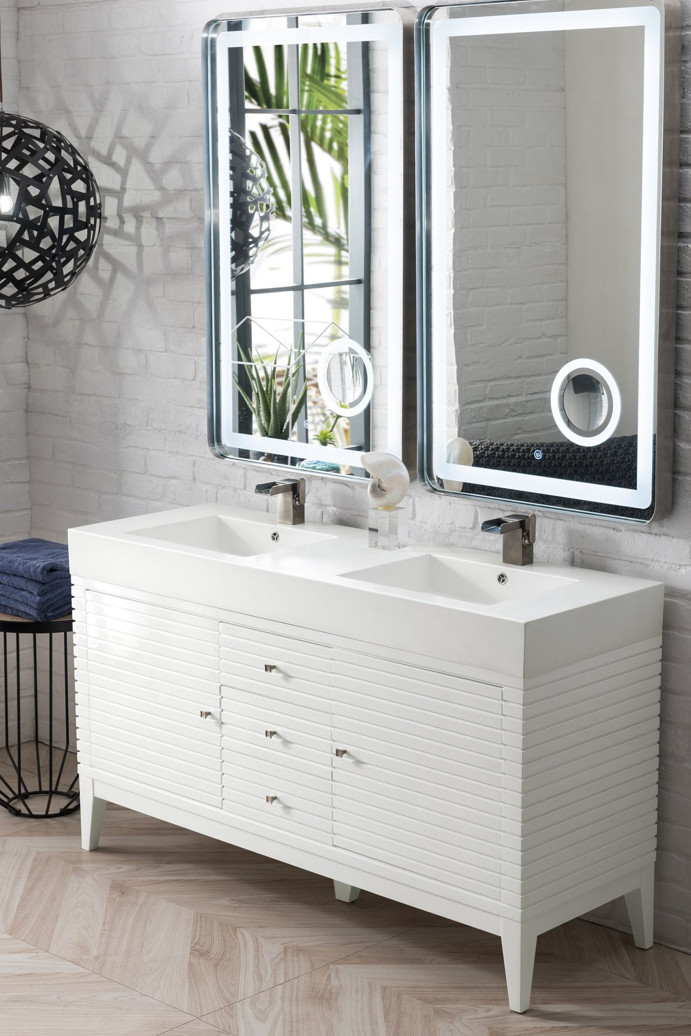 "Linear 59"" Double Vanity, Glossy White Double bathroom Vanity James Martin Vanities"