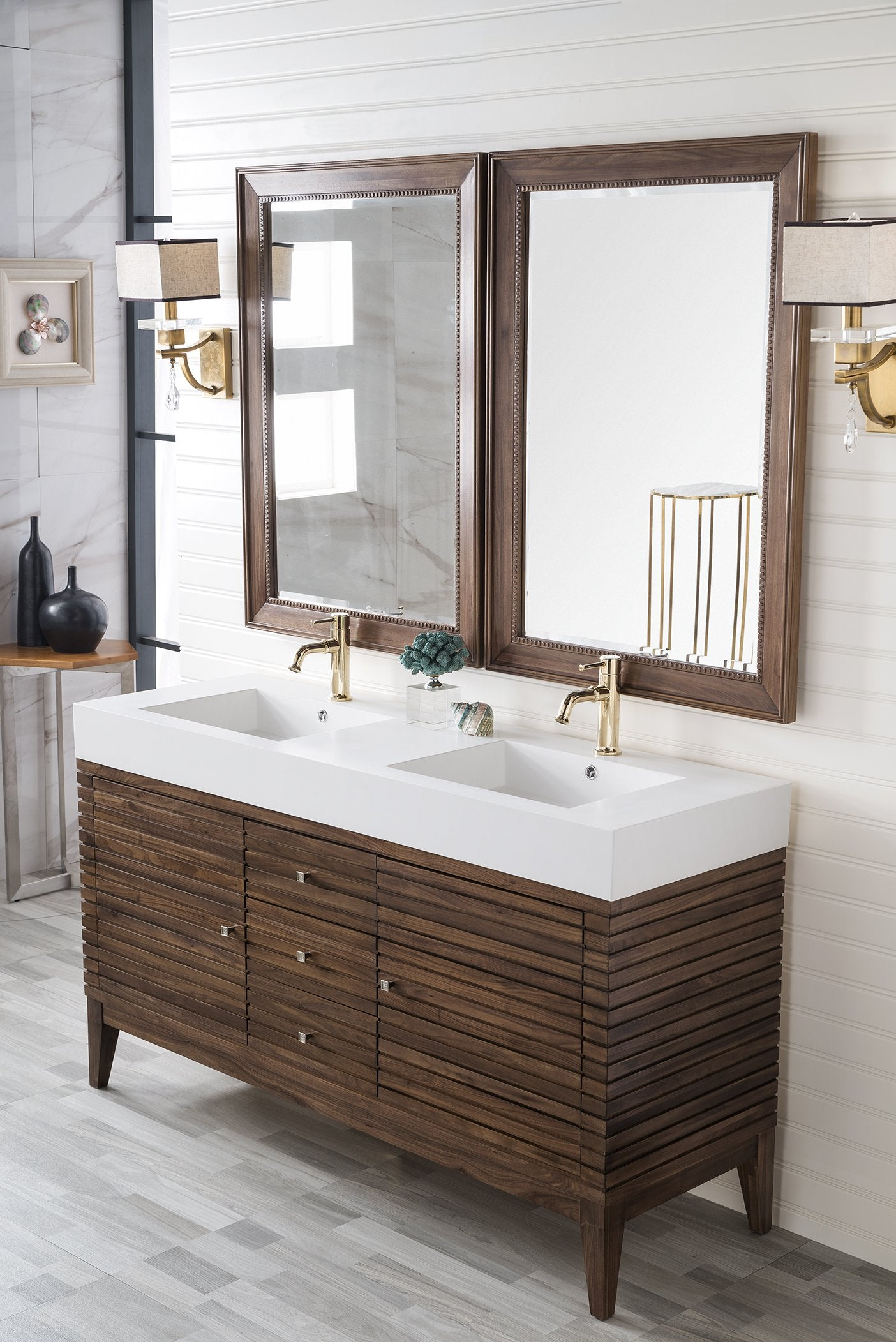 Linear 59 Double Bathroom Vanity Mid Century Walnut