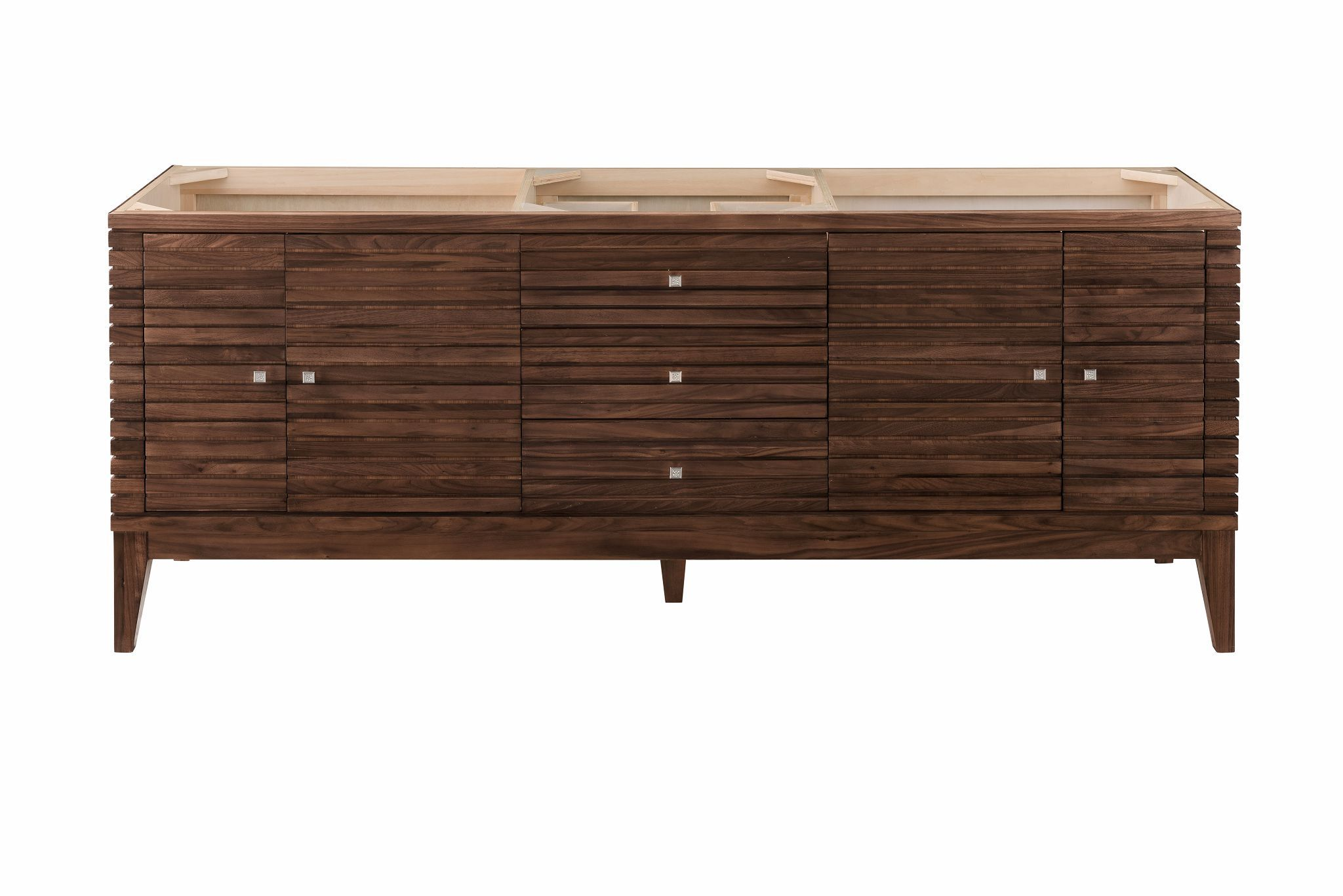 "Linear 72"" Double Bathroom Vanity, Mid Century Walnut Double bathroom Vanity James Martin Vanities"