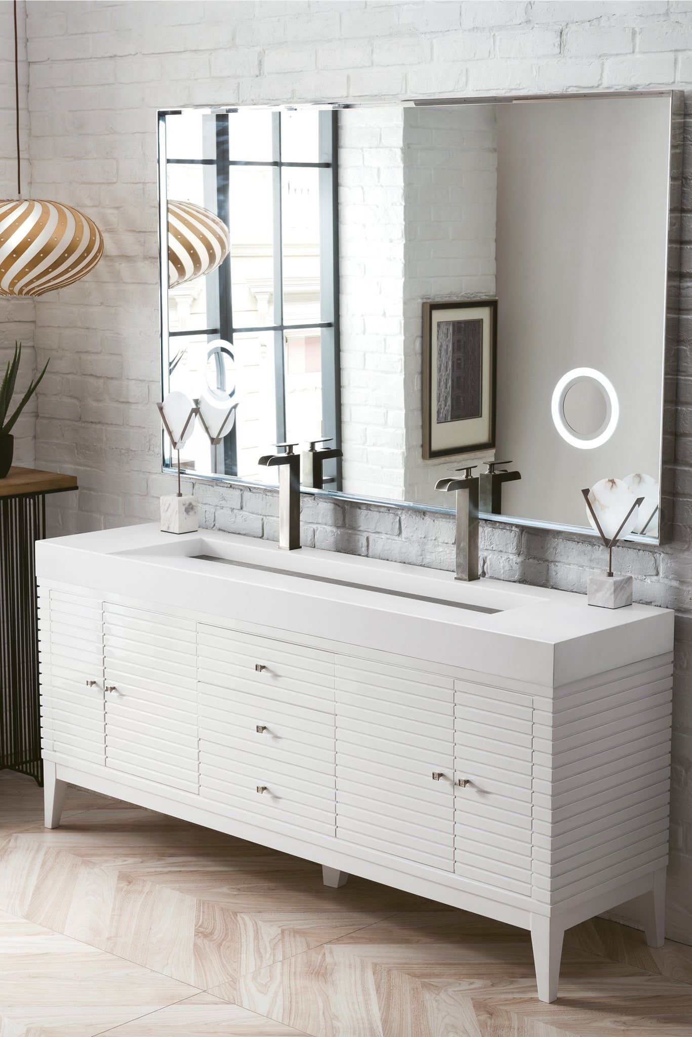"Linear 72"" Double Vanity, Glossy White Double bathroom Vanity James Martin Vanities"