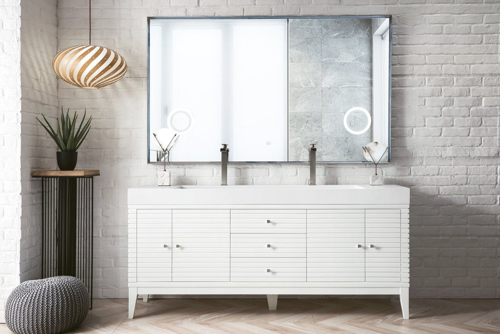 "Linear 72"" Double Bathroom Vanity, Glossy White"
