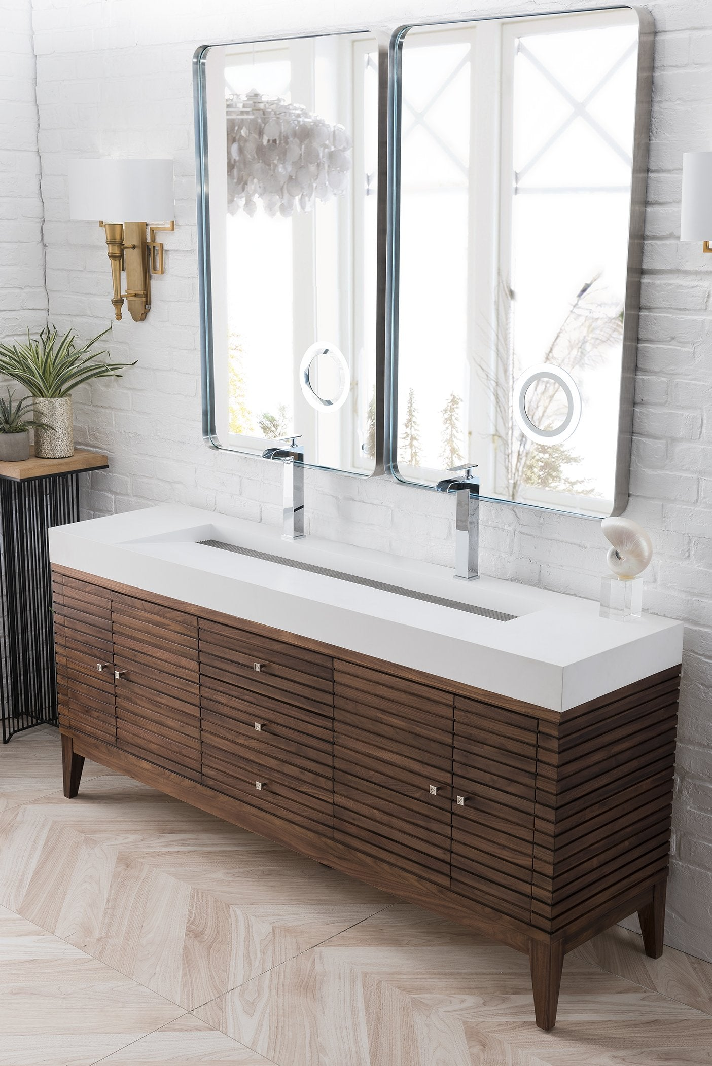"Linear 72"" Double Bathroom Vanity, Mid Century Walnut"