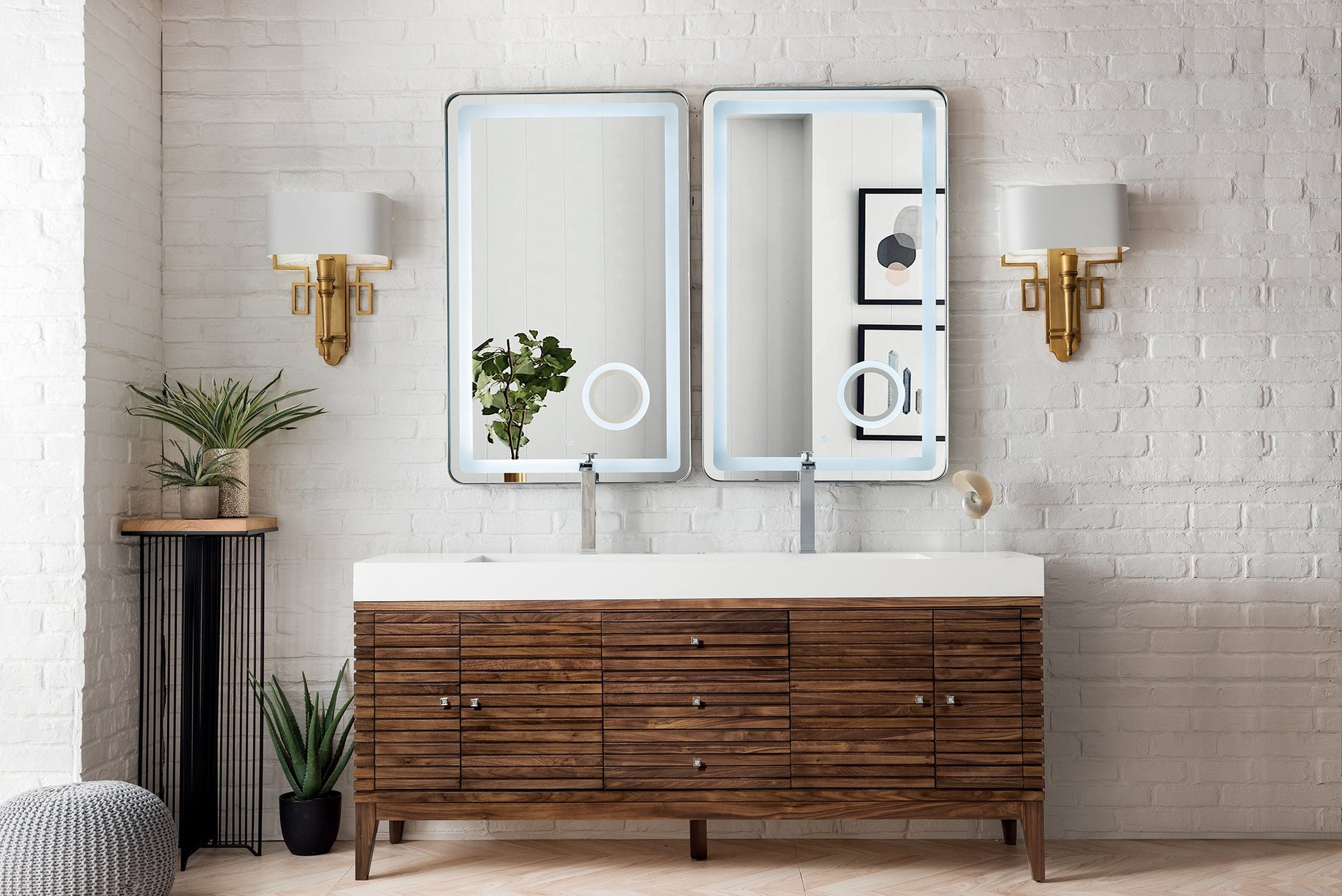 "Linear 72"" Double Vanity, Mid Century Walnut Double bathroom Vanity James Martin Vanities"