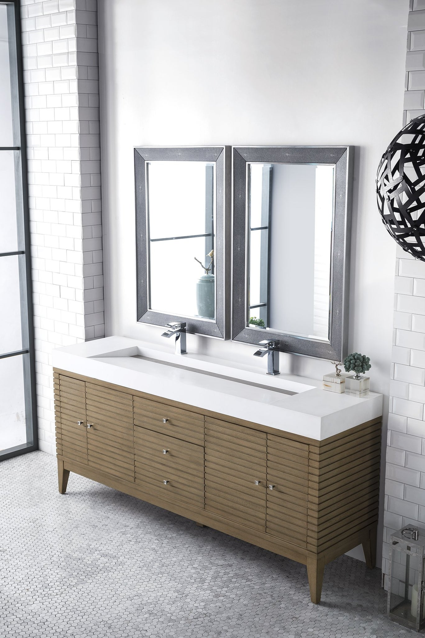 "Linear 72"" Double Bathroom Vanity, White Washed Walnut"