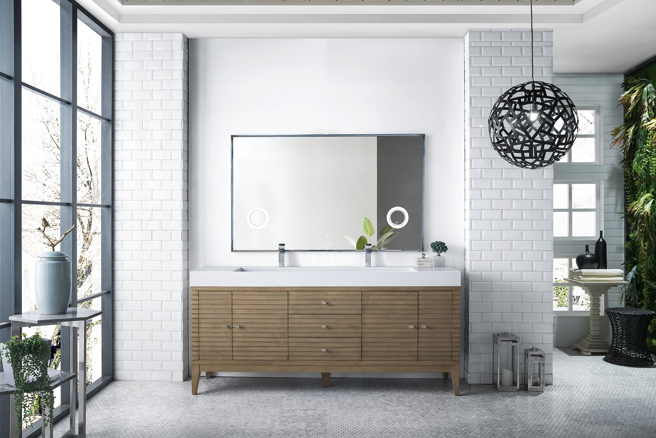 Linear 72 Double Bathroom Vanity White Washed Walnut
