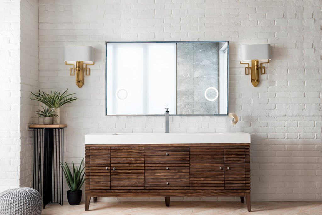 Linear 72 Single Bathroom Vanity Mid Century Walnut