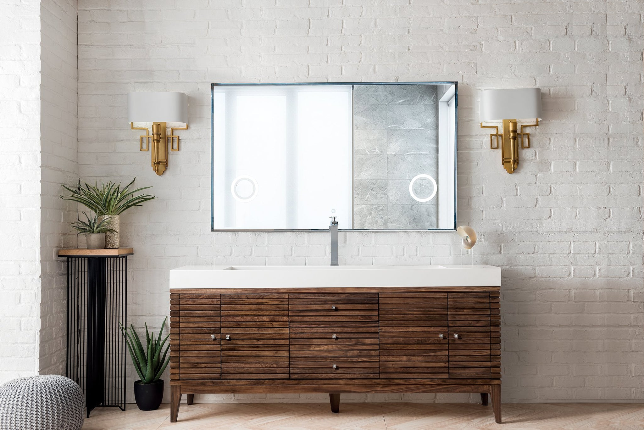 "Linear 72"" Single Vanity, Mid Century Walnut Single Bathroom Vanity James Martin Vanities"