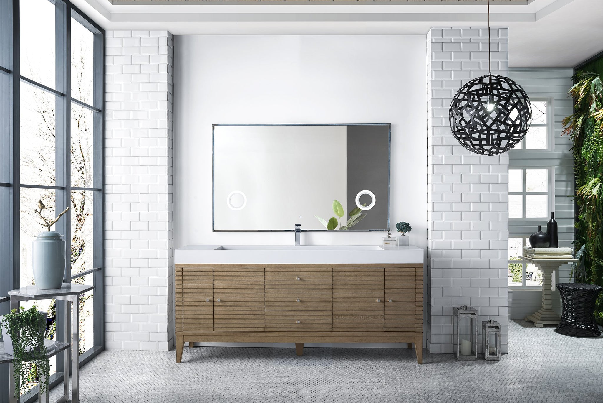 "Linear 72"" Single Vanity, White Washed Walnut Single Bathroom Vanity James Martin Vanities"