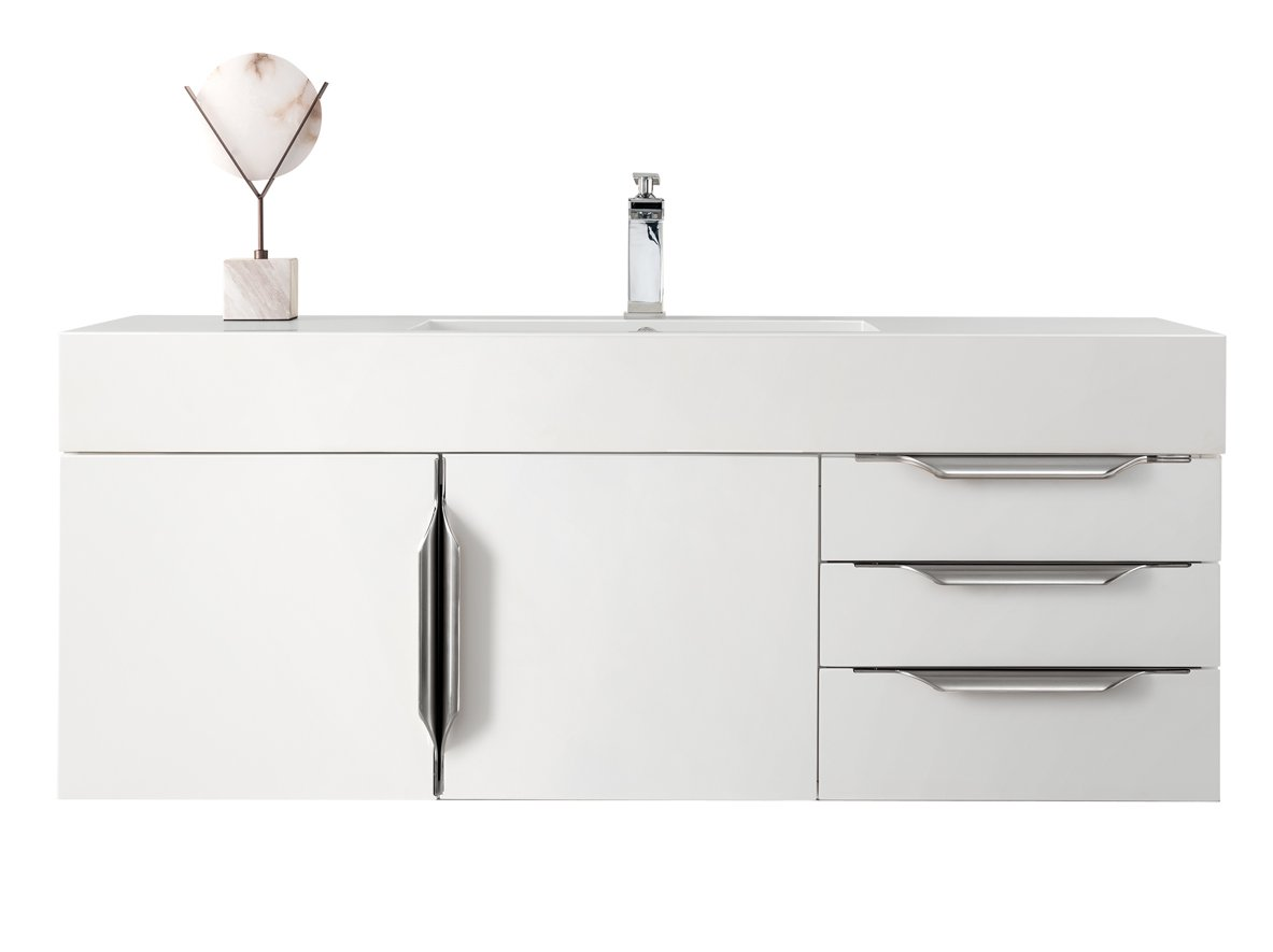 "Mercer Island 48"" Single Bathroom Vanity, Glossy White Single Bathroom Vanity James Martin Vanities"