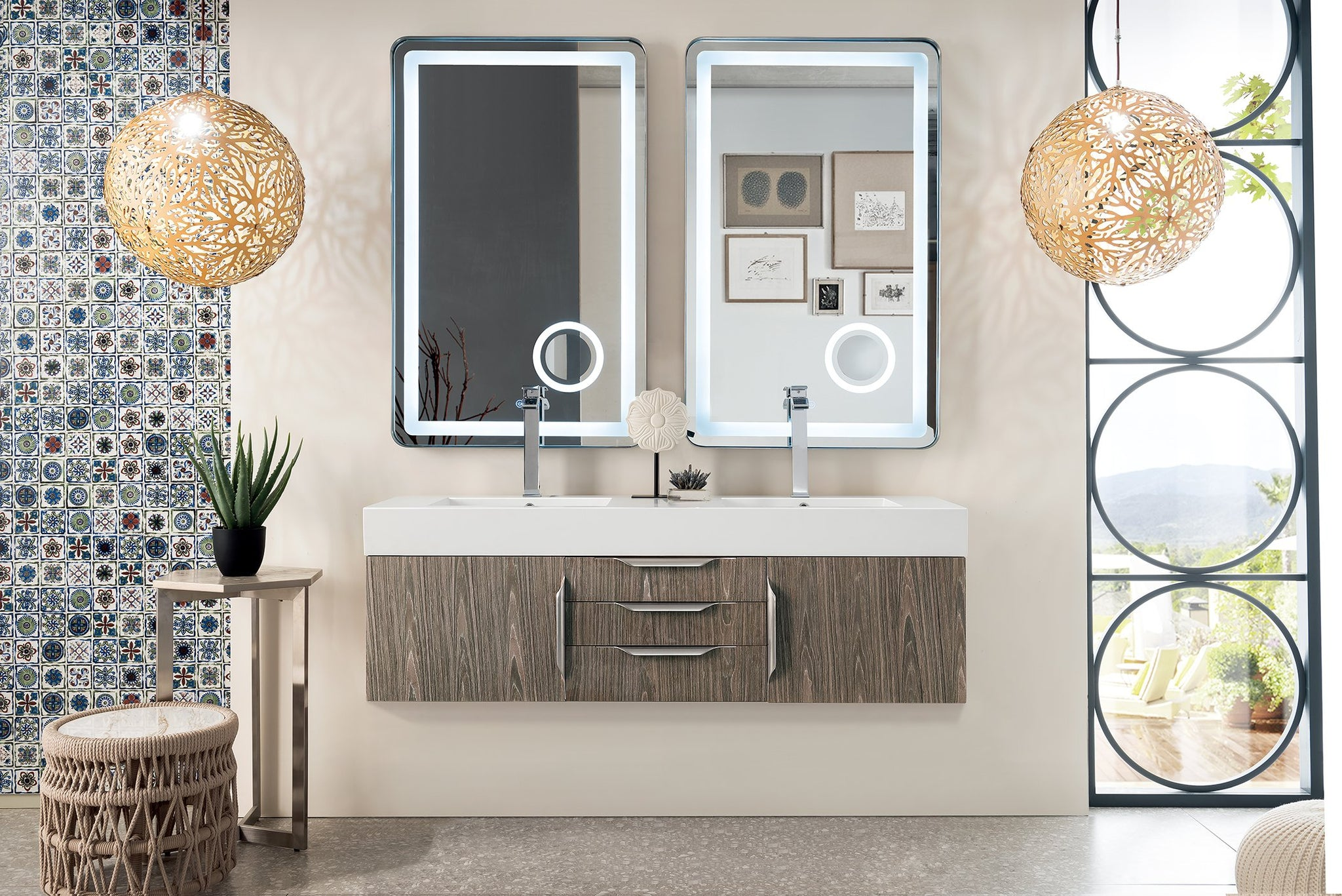 "Mercer Island 59"" Double Bathroom Vanity, Ash Gray Double bathroom Vanity James Martin Vanities"