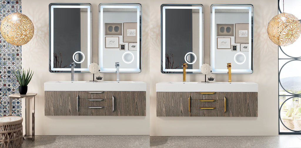 "Mercer Island 59"" Double Bathroom Vanity, Ash Gray"