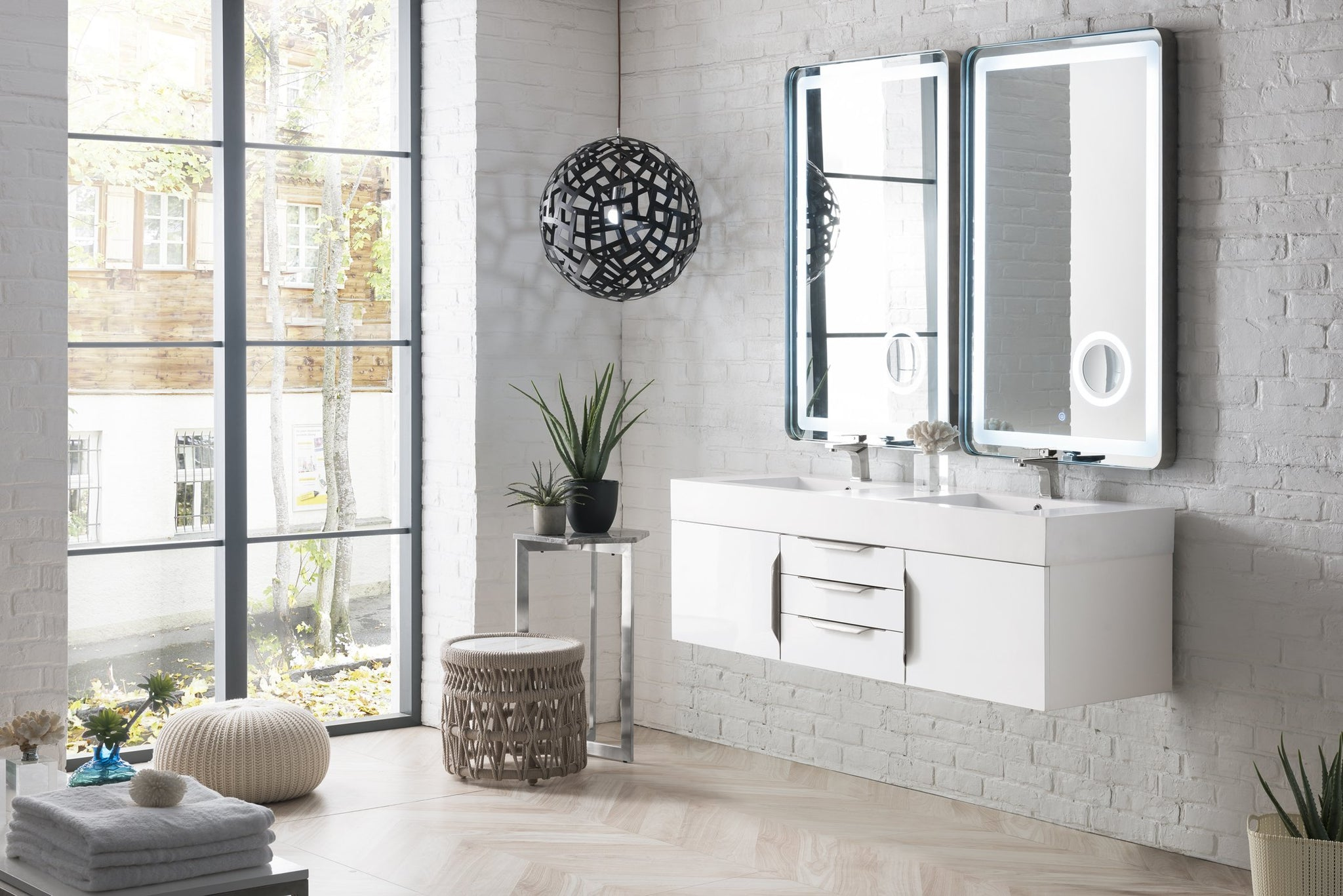 "Mercer Island 59"" Double Bathroom Vanity, Glossy White Double bathroom Vanity James Martin Vanities"