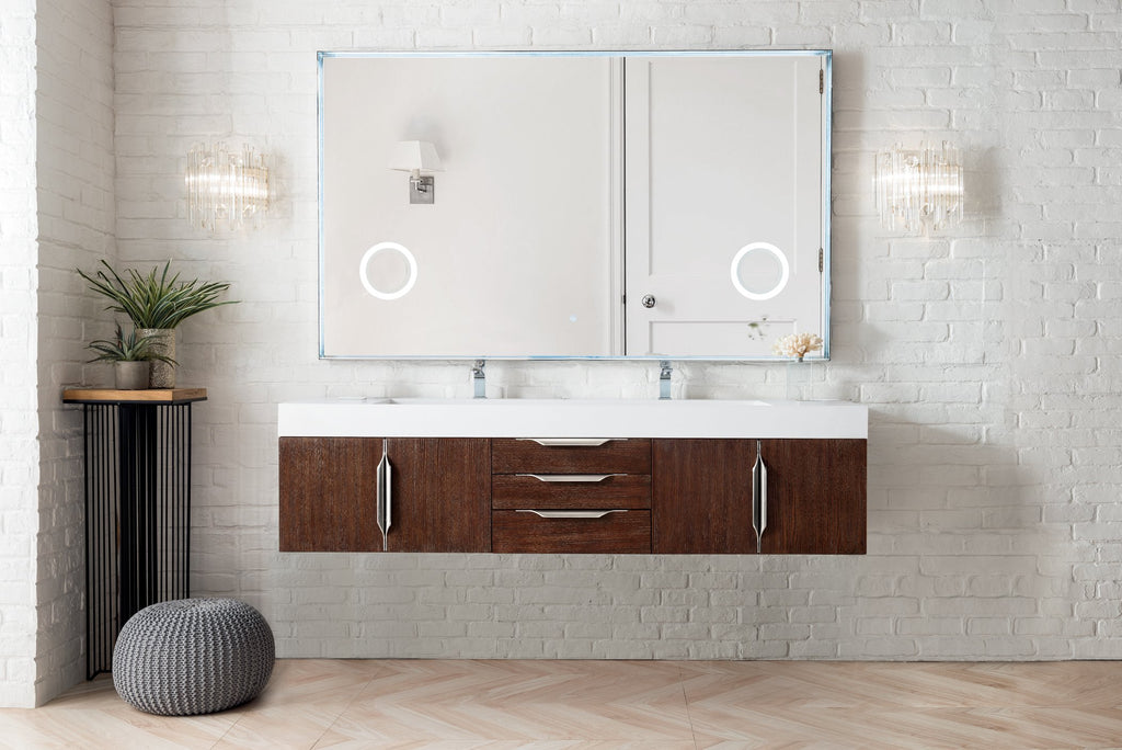 "Mercer Island 72"" Double Bathroom Vanity, Coffee Oak"