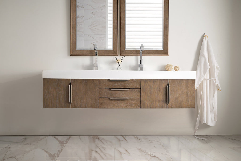 "Mercer Island 72"" Double Bathroom Vanity, Latte Oak"