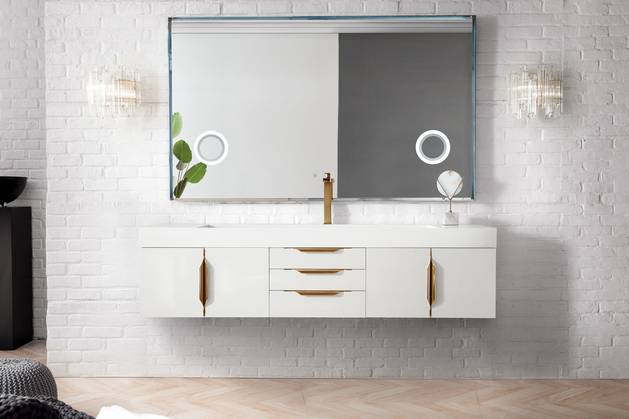 "Mercer Island 72"" Single Bathroom Vanity, Glossy White Single Bathroom Vanity James Martin Vanities"