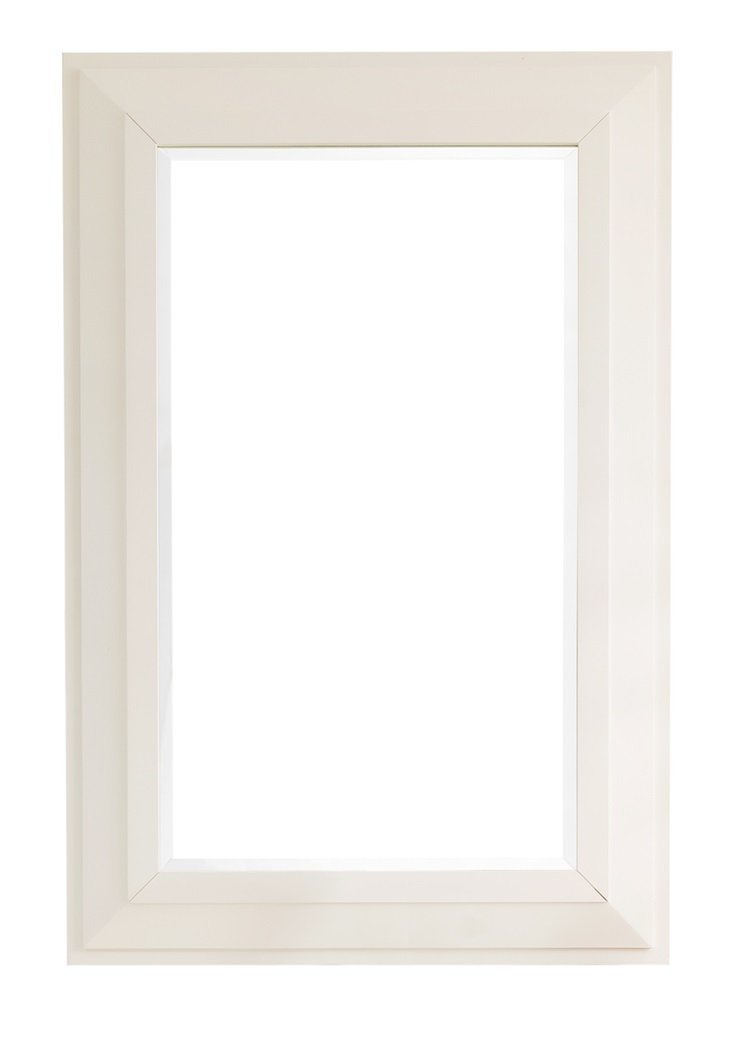 "Portland 28"" Rectangular Mirror, Cottage White Mirror James Martin Vanities"