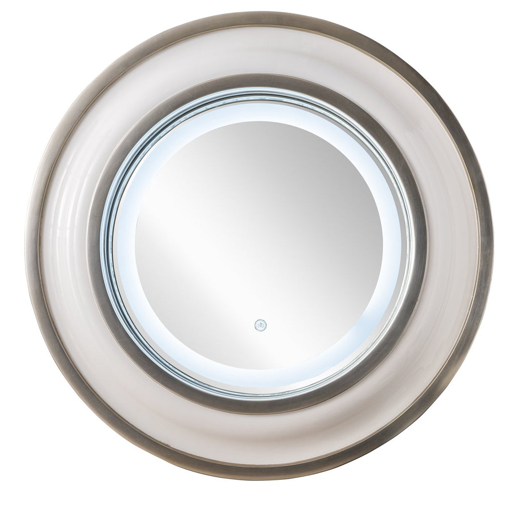 "Rings 36"" Mirror, Bright White with Silver"