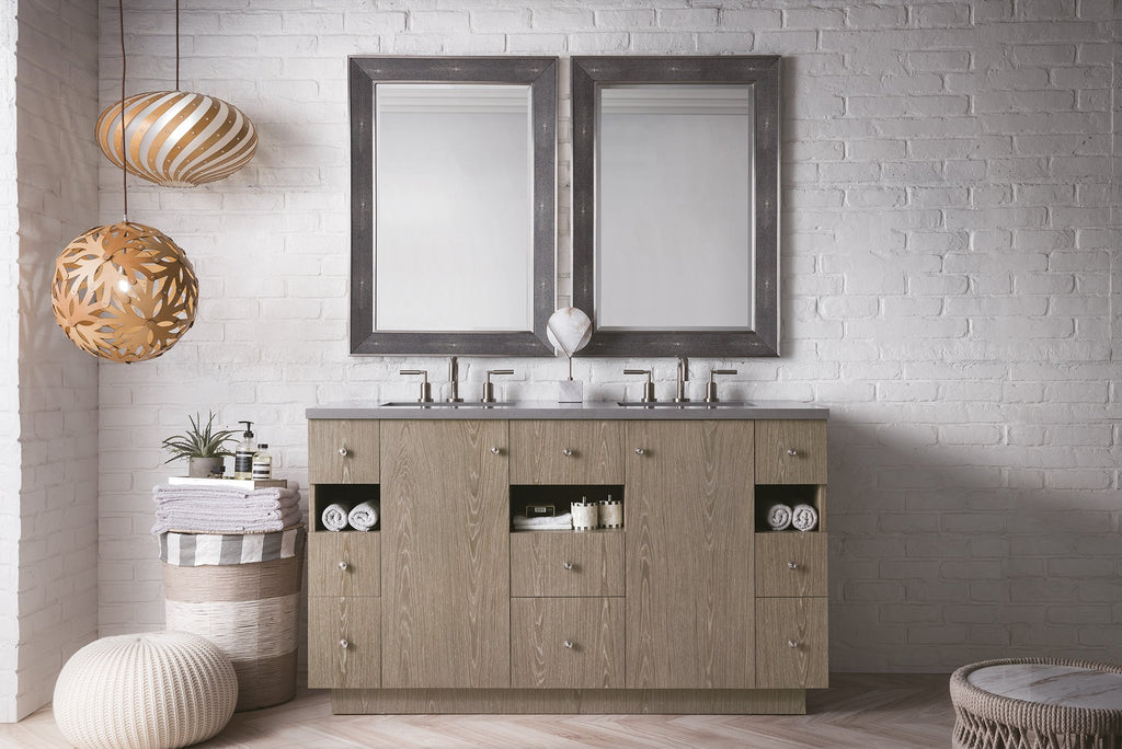 "Seaside 60"" Double Bathroom Vanity, Silver Apricot"