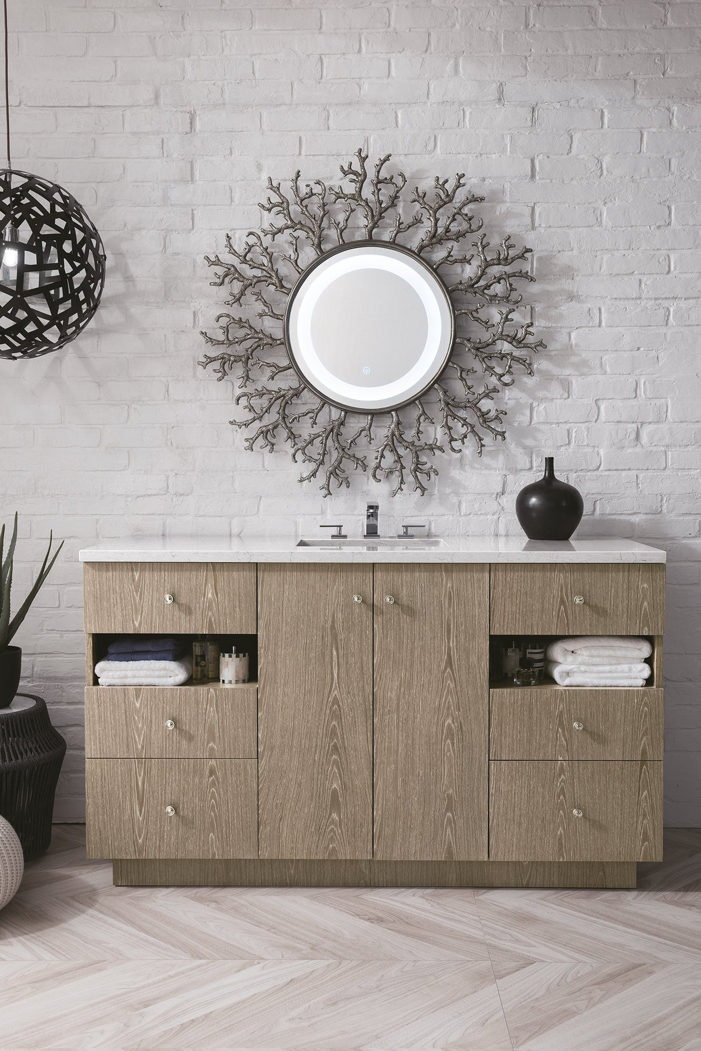 "Seaside 60"" Single Vanity, Silver Apricot Single Bathroom Vanity James Martin Vanities"