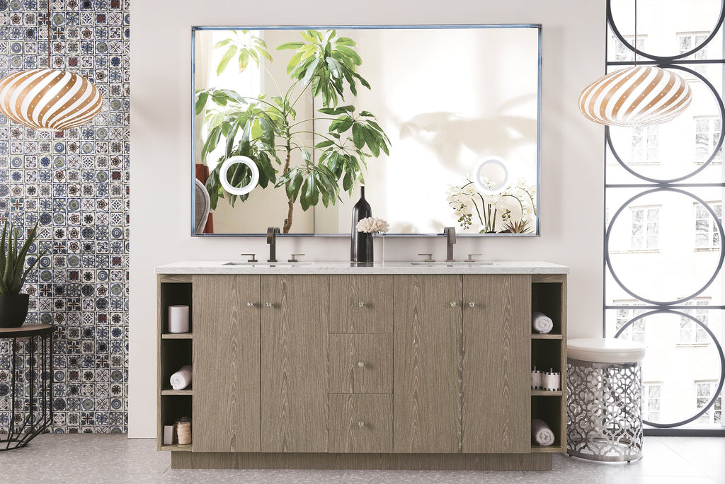 "Seaside 72"" Double Bathroom Vanity, Silver Apricot"