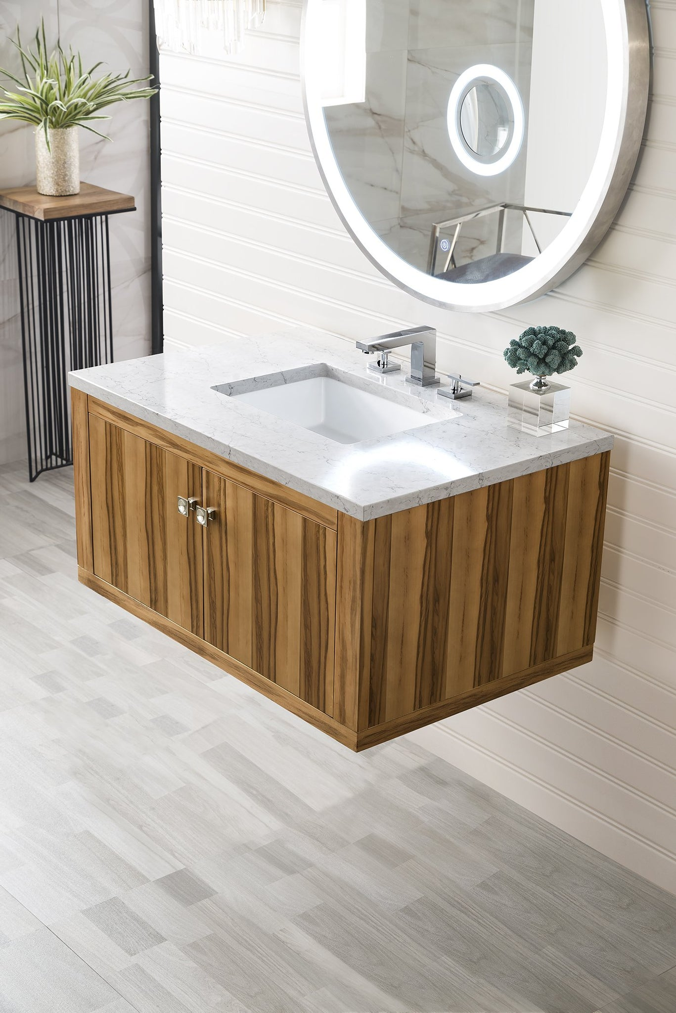 "Silverlake 36"" Single Vanity, Natural Applewood Single Bathroom Vanity James Martin Vanities"